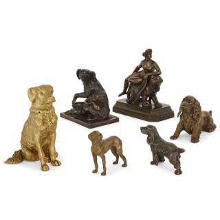 Six antique bronze dog sculptures
