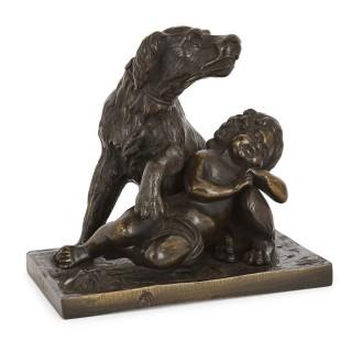Six antique bronze dog sculptures