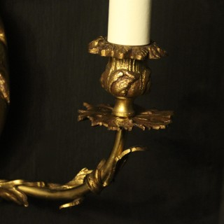 French Pair Of Gilded Rococo Triple Arm Wall Lights