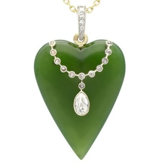 Nephrite Jade and 0.54ct Diamond, 15ct Yellow Gold Necklace by Tessiers - Antique Circa 1910