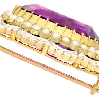 34.49ct Amethyst and 2.95ct Diamond, Pearl and 15ct Yellow Gold Brooch - Antique Circa 1910