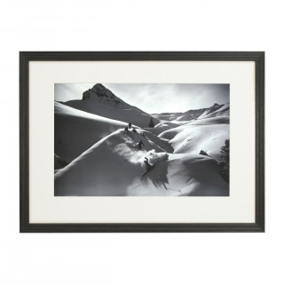 Vintage Style Ski Photography, Framed Alpine Ski Photograph, Descent in Powder.
