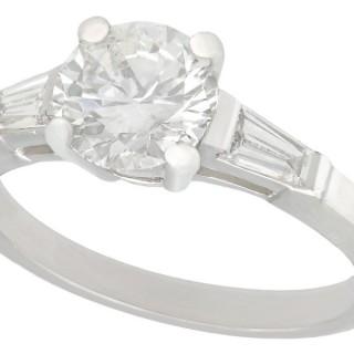 1.12 ct Diamond and Platinum Solitaire Ring - Vintage Circa 1950