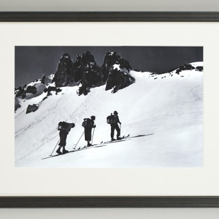 Vintage Style Photography, Framed Alpine Ski Photograph, Three Peaks.