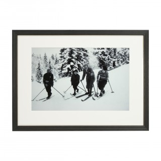 Vintage Style Photography, Framed Alpine Ski Photograph, Bend Zie Knees