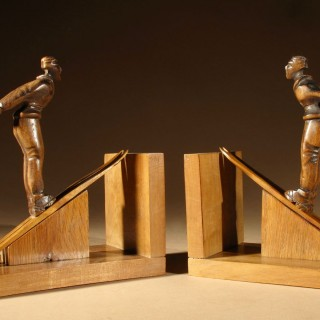 A Stylish Pair Of Art Deco Ski Jumping Bookends, French Circa 1920.