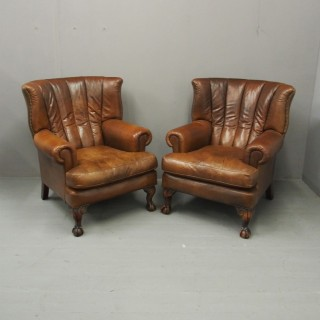 Pair of Georgian Style Tan Leather Wing Chairs