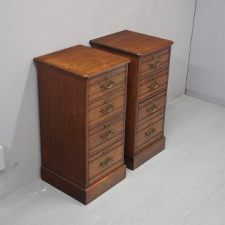Pair of Victorian Italian Walnut Bedside Lockers