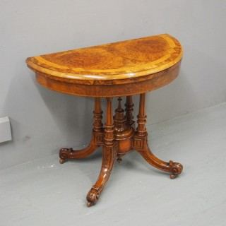 Victorian Inlaid and Burr Walnut Demi-Lune Card Table