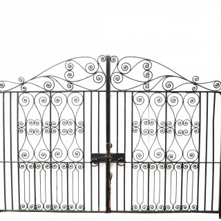 Pair Of 11'7″ Reclaimed Wrought Iron Driveway Gates