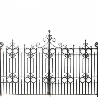 Pair Of 13′ Antique Wrought Iron Driveway Gates