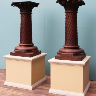 Pair Of Antique Carved Oak Column Pedestals