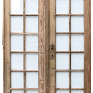 Pair Of Antique Pine French Glazed Doors