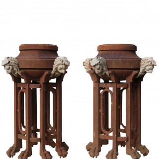 A Pair Of Rare Antique Cast Iron Braziers