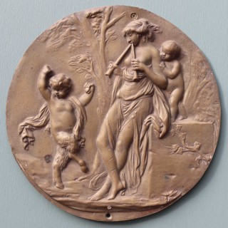 Antique French Bronze Plaque Signed Clodion