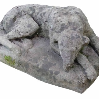 Antique Stone Resting Greyhound