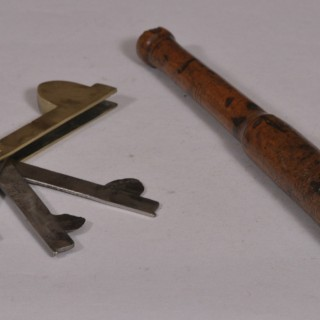 Antique Treen Boxwood Fleam Mallet of the Georgian Period and Folding Fleam Knife