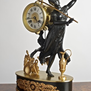 French Bronze and Gilded Mantel Clock