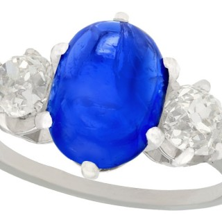 4.90ct Burmese Sapphire and 1.39ct Diamond, Platinum Dress Ring - Antique French Circa 1935