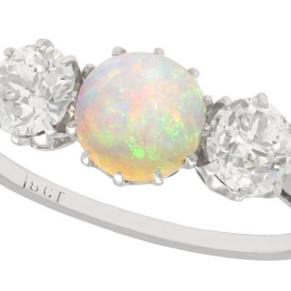 0.73 ct Opal and 1.08 ct Diamond, 18 ct White Gold Trilogy Ring - Antique Circa 1920