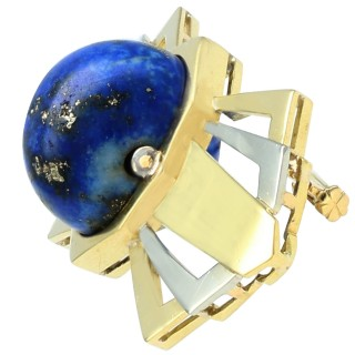 14.95ct Lapis Lazuli and 18ct Yellow Gold Bow Brooch - Antique Circa 1930