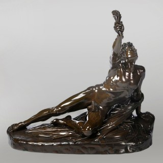 'The Soldier of Marathon'  A Large Patinated Bronze Group After A Model by Jean-Pierre Cortot Cast by Ferdinand Barbedienne