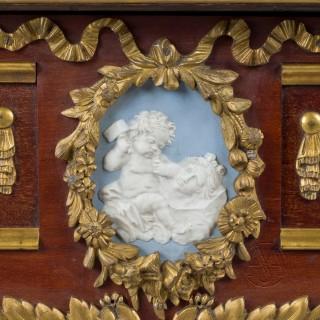 A Louis XVI Style Gilt-Bronze And Jasperware Mounted Mahogany Bureau Plat