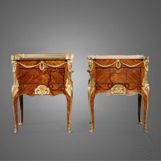 A Near Pair of Transitional Style Gilt-Bronze Mounted Marquetry Side Cabinets After The Model By Oeben