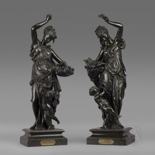 'Le Printemps et  L'Eté' A Pair of Large Patinated Bronze Allegorical Figures  After Carrier Belleuse
