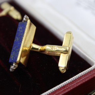 An exceptional pair of 18 Carat Yellow Gold, Lapiz  Lazuli and Diamond Cufflinks, Aspreys' Date  Mark 1974