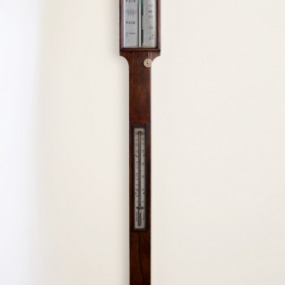 George III Rosewood Mercury Stick Barometer by J.King, Bristol