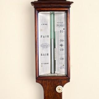 George III Rosewood Mercury Stick Barometer by J.King, Bristol