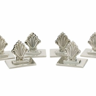 Danish Sterling Silver Menu / Card Holders by Georg Jensen - Antique 1929