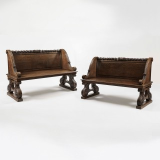 A Pair of Late Georgian Oak Benches Attributed to Gillows
