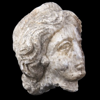 Roman Marble Head of a Goddess with Diadem