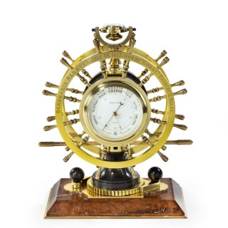 Victorian Double Steering-Wheel Desk Clock and Barometer Racing Trophy
