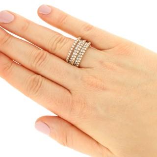 2.31ct Diamond and 18ct Rose Gold, 18ct White Gold Dress Ring - Vintage Circa 1980