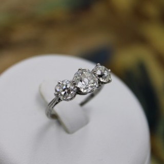 Platinum 2.86ct Three Stone Diamond Ring, Circa 1930