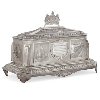 Anglo-Indian Art Deco silver presentation casket