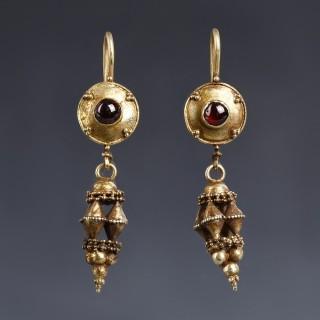 Elaborate Roman Gold Earrings with Garnets