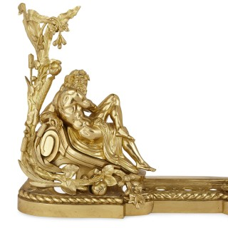 French gilt bronze fireplace chenets