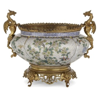 Chinese cloisonné enamel and French gilt bronze jardinière