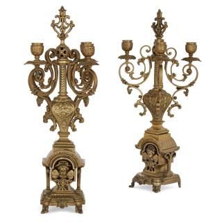 Antique gilt bronze three-piece clock garniture