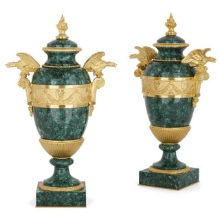 Pair of Napoleon III style gilt bronze and malachite vases