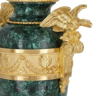 Pair of Napoleon III style gilt bronze and malachite vases
