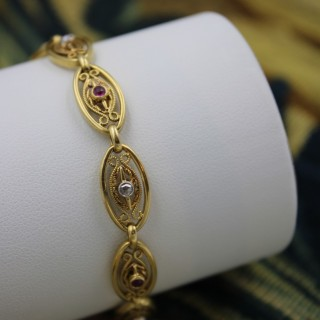 A Belle Epoque Diamond and Ruby Gold Bracelet set in 18ct Gold & Platinum, French, Circa 1900