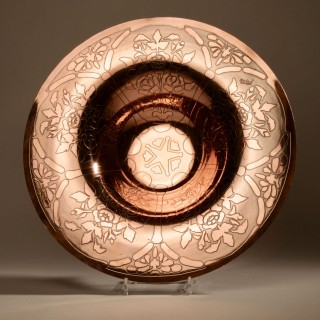 A Very Decorative Art Deco Signed Dinanderie Copper Fruit Charger, circa 1920-40.