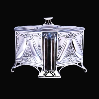An exceptional, large, Kate Harris art nouveau silver casket