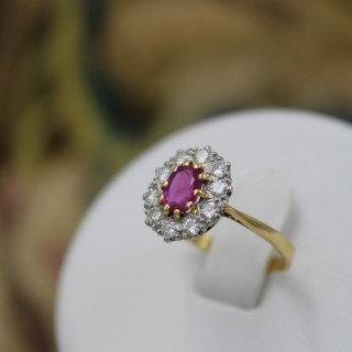 A very fine 18ct Yellow Gold Oval Natural Ruby & Diamond Cluster Ring, Circa 1955