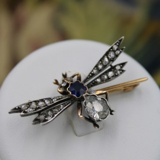 An Exceptional 18ct Yellow Gold & Silver French Diamond and Sapphire Bug Brooch, Circa 1890